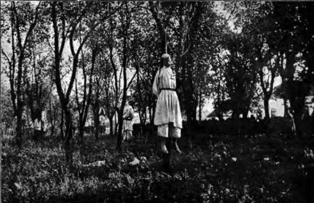 1914, 20 august. Fotografie realizată imediat după retragerea trupelor austro-ungare. Civili sârbi spânzurați de unguri la Lešni